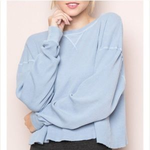 Brandy Melville periwinkle thermal sweater shirt
